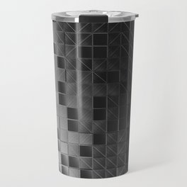 Wall of brushed metal tiles with diagonal glowing elements Travel Mug