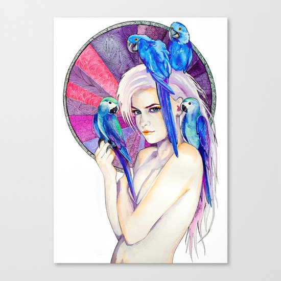 Girl with Parrots Canvas Print