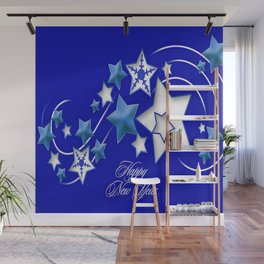 Teal and Blue Happy New Year Shooting Stars Wall Mural