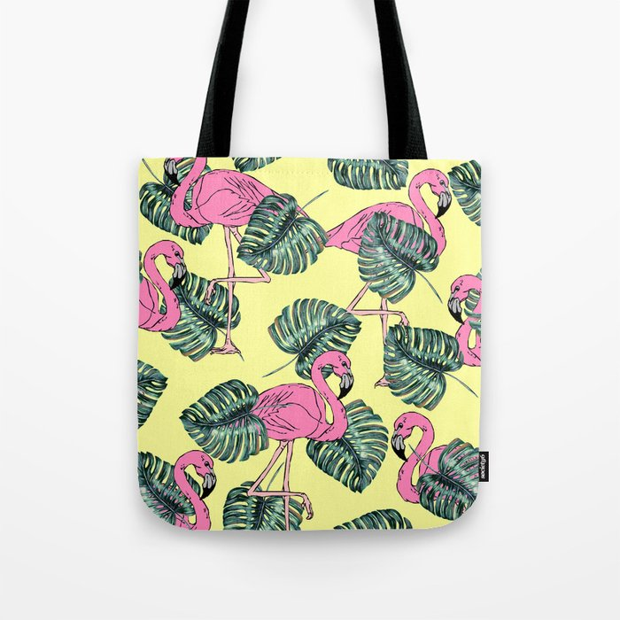 tropical leaves with flamingo Tote Bag