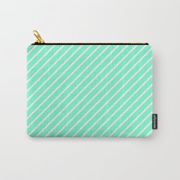 Diagonal Lines (White/Aquamarine) Carry-All Pouch