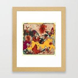 Artistic Monarch Butterflies Design Rustic Pattern Framed Art Print