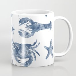 Delft Blue nautical Marine Life pattern, coastal beach Coffee Mug