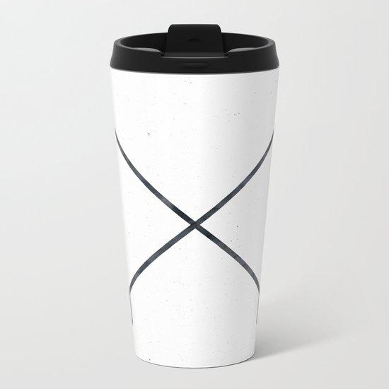 Black Arrows on White Paper Metal Travel Mug