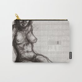 From (Vom) - Charcoal on Newspaper Figure Drawing Carry-All Pouch