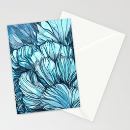 Blue Coral Lines Stationery Cards