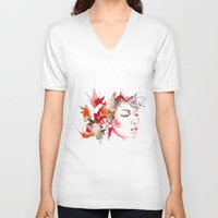 oriental V-neck T-shirts featuring oriental by Lua Fraga
