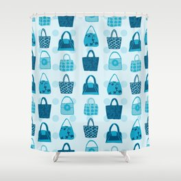 Handbag Heven Blues with Spots Shower Curtain
