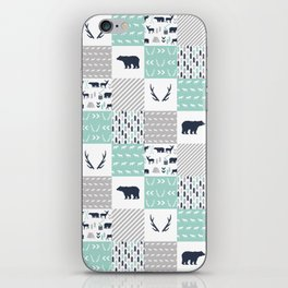 Camper antlers bears pattern minimal nursery basic navy mint white camping cabin chalet decor iPhone Skin