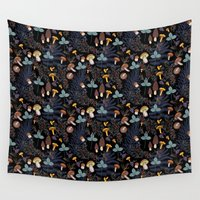 vegetarian Wall Tapestries featuring dark wild forest mushrooms by smallDrawing