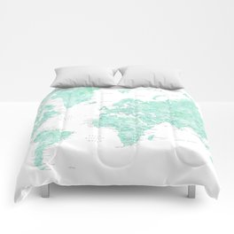 "Light mint watercolor world map, detailed, ""Desie"" Comforters"