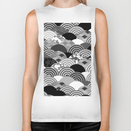 Nature background with japanese sakura flower, Cherry, wave circle Black gray white colors Biker Tank