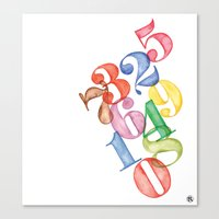 numbers Canvas Prints featuring Numbers by Resistenza