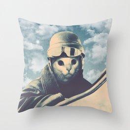 Flight Cat Throw Pillow