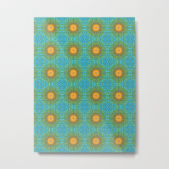 Yellow Salsify Flower Pattern Metal Print