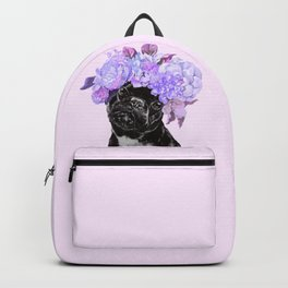 Bulldog with Flowers Crown Backpack