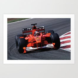 Sketch of F1 Champion Michael Schumacher - year 2000 car F1-2000 Art Print