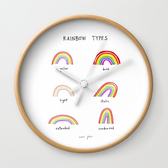 rainbow types Wall Clock