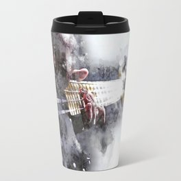 Person Playing Electric Bass Guitar in watercolor style Travel Mug