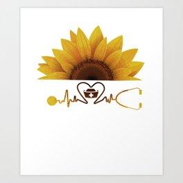 Sunflower With A Nurse Heartbeat Hippie Sunshine Art Print
