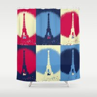 eiffel Shower Curtains featuring Eiffel Tower by Aloke Design