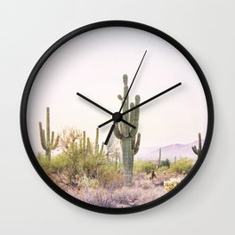 Cactus In The Desert Wall Clock
