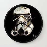 storm trooper Wall Clocks featuring Storm Trooper by Panxy_Art
