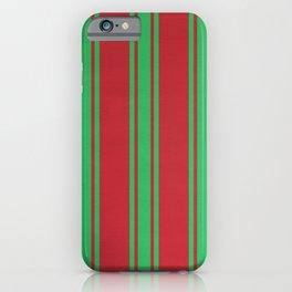 Green lines on a red background iPhone Case