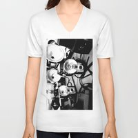 cameras V-neck T-shirts featuring Cameras by Yancey Wells