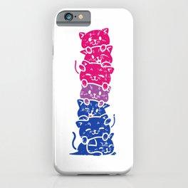 Cat Stack Bisexual Pride Cute Bi Flag LGBT Animal Lover Gift T-Shirt iPhone Case