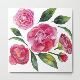 Watercolor camellia Metal Print