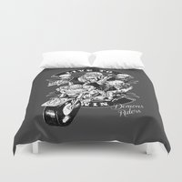 moto Duvet Covers featuring Moto Demons by Luiz Fogaça
