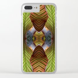 Striped Canna Lily Leaves Clear iPhone Case