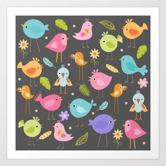 Birds - Gray Art Print