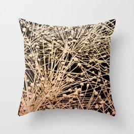 Star Burst Botanical Cream Terracotta Brown Black Throw Pillow
