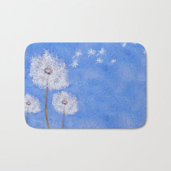 flying dandelion watercolor painting Bath Mat