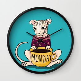 Grumpy Sphynx Cat Drinking Monday Coffee - Hairless Kitty Wearing a Sweater - Fold Ears - Teal Background Wall Clock