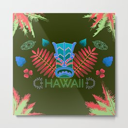 Tropical Totem And Leaves Landscape Metal Print