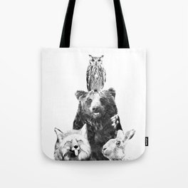 Black and White Woodland Animals Tote Bag