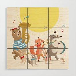 Children's Nursery Music Animal Band Wood Wall Art