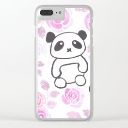 Cute Pandas and roses watercolor Clear iPhone Case