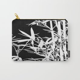 White Bamboo Silhouette On Black Carry-All Pouch