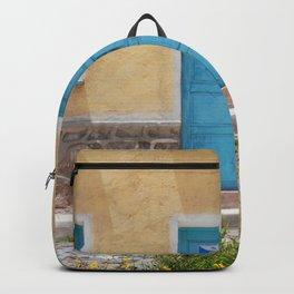 Bolivia door 7 blue on yellow Backpack