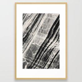 Abstract Marble - Black & Cream Framed Art Print