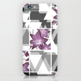 Pink lilies on grey triangles . iPhone Case