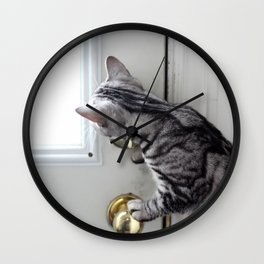Peeking Kitten Wall Clock