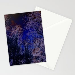 Psychadelic trees frame the moon Stationery Cards