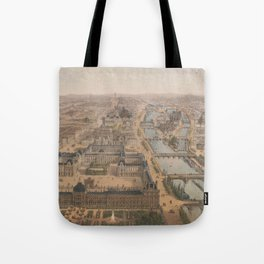 Vintage Paris & The Louvre Palace Map (1879) Tote Bag