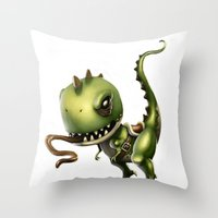 yoshi Throw Pillows featuring Evil Yoshi by Danilo Fiocco