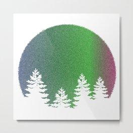 Northern Lights Moon Tree Silhouette Metal Print